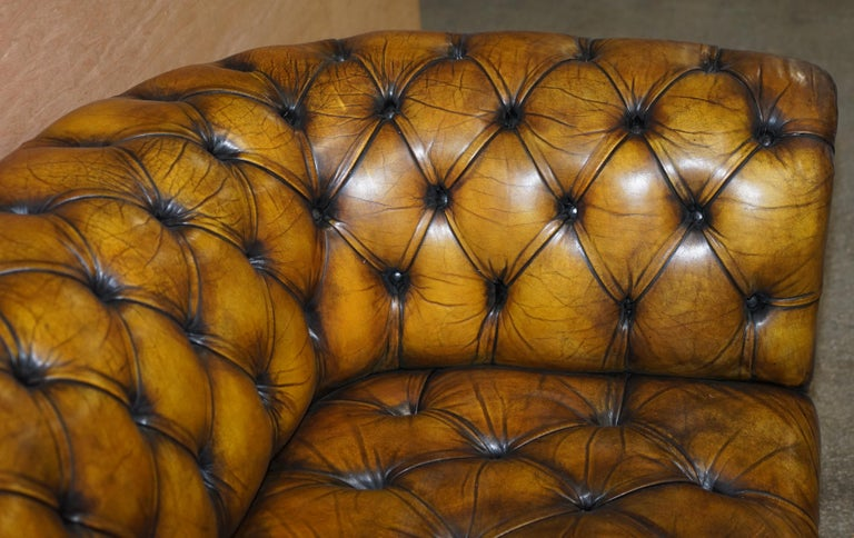 1920's Art Deco Hand Dyed Restored Whisky Brown Leather Chesterfield Tufted Sofa For Sale 7