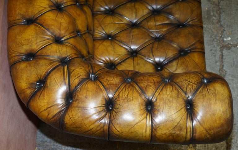 1920's Art Deco Hand Dyed Restored Whisky Brown Leather Chesterfield Tufted Sofa For Sale 8