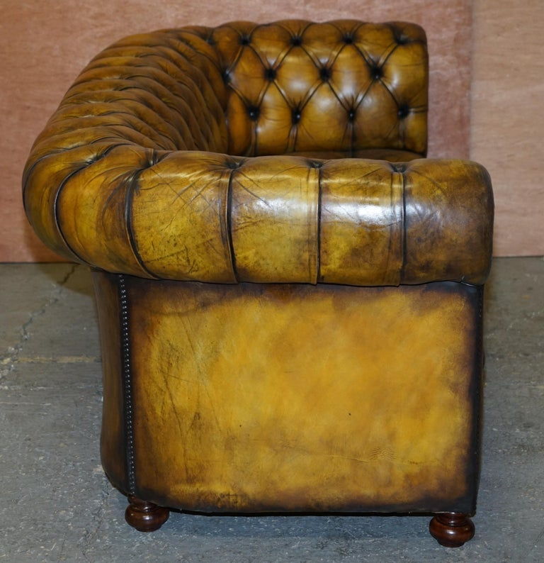 1920's Art Deco Hand Dyed Restored Whisky Brown Leather Chesterfield Tufted Sofa For Sale 9