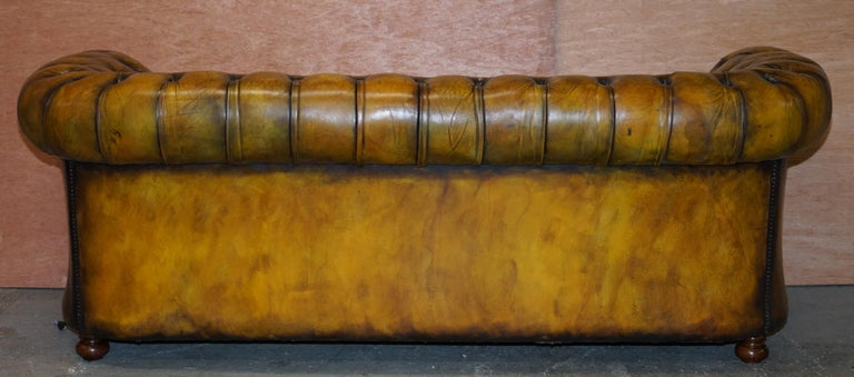 1920's Art Deco Hand Dyed Restored Whisky Brown Leather Chesterfield Tufted Sofa For Sale 10