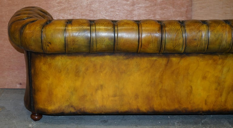 1920's Art Deco Hand Dyed Restored Whisky Brown Leather Chesterfield Tufted Sofa For Sale 11