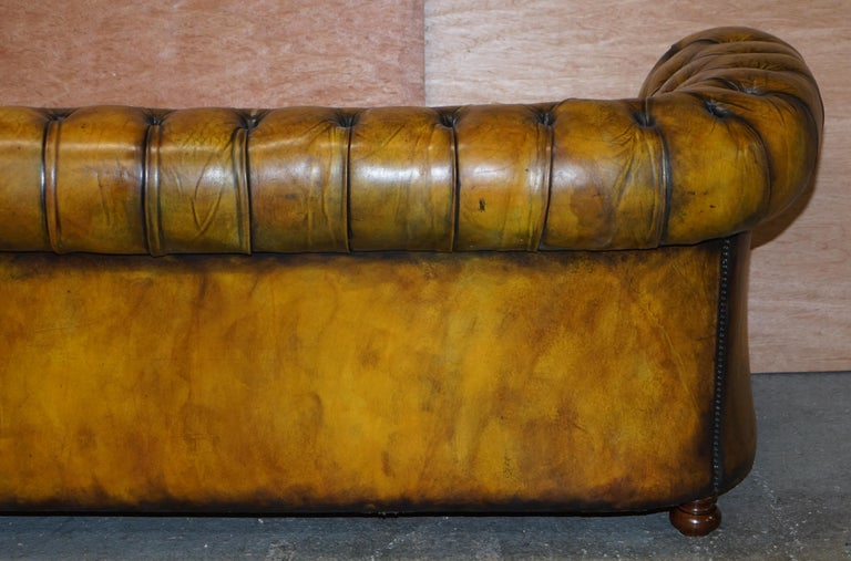 1920's Art Deco Hand Dyed Restored Whisky Brown Leather Chesterfield Tufted Sofa For Sale 12