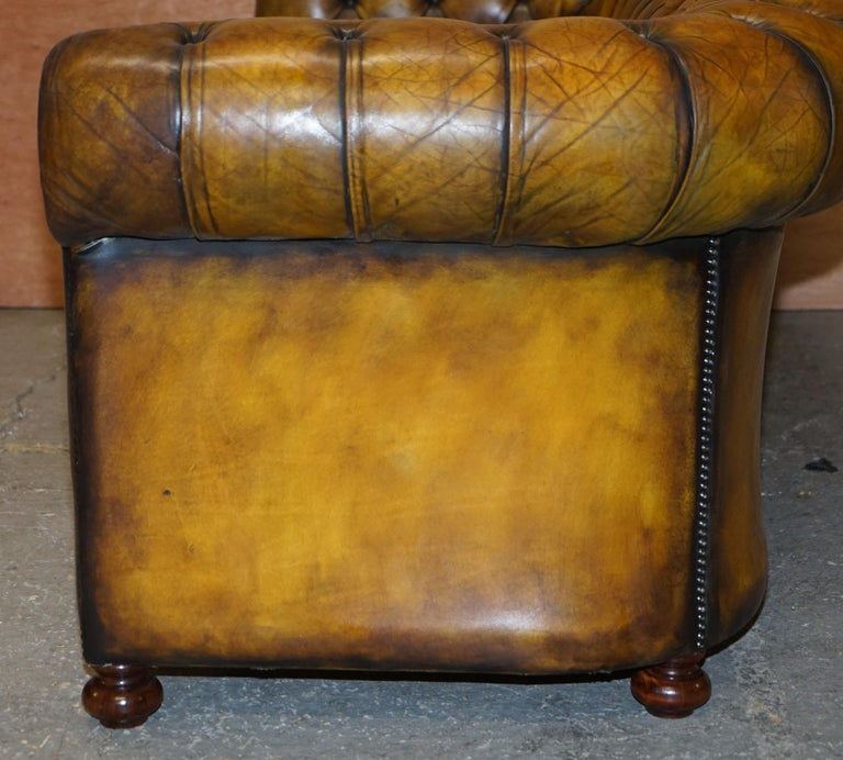 1920's Art Deco Hand Dyed Restored Whisky Brown Leather Chesterfield Tufted Sofa For Sale 14