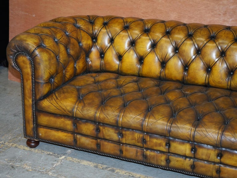 English 1920's Art Deco Hand Dyed Restored Whisky Brown Leather Chesterfield Tufted Sofa For Sale