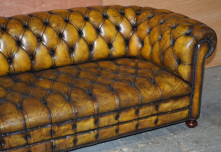 Hand-Crafted 1920's Art Deco Hand Dyed Restored Whisky Brown Leather Chesterfield Tufted Sofa For Sale