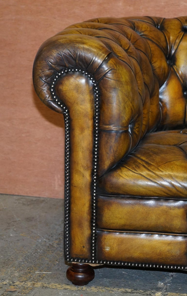 1920's Art Deco Hand Dyed Restored Whisky Brown Leather Chesterfield Tufted Sofa In Good Condition For Sale In London, GB