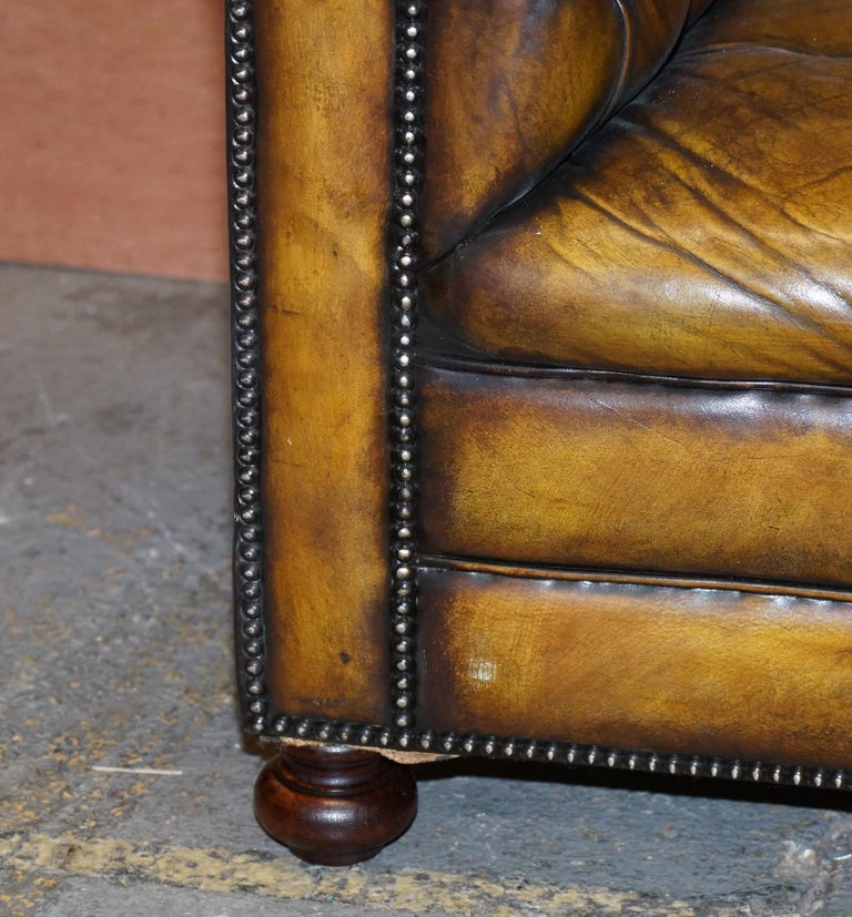 1920's Art Deco Hand Dyed Restored Whisky Brown Leather Chesterfield Tufted Sofa For Sale 1