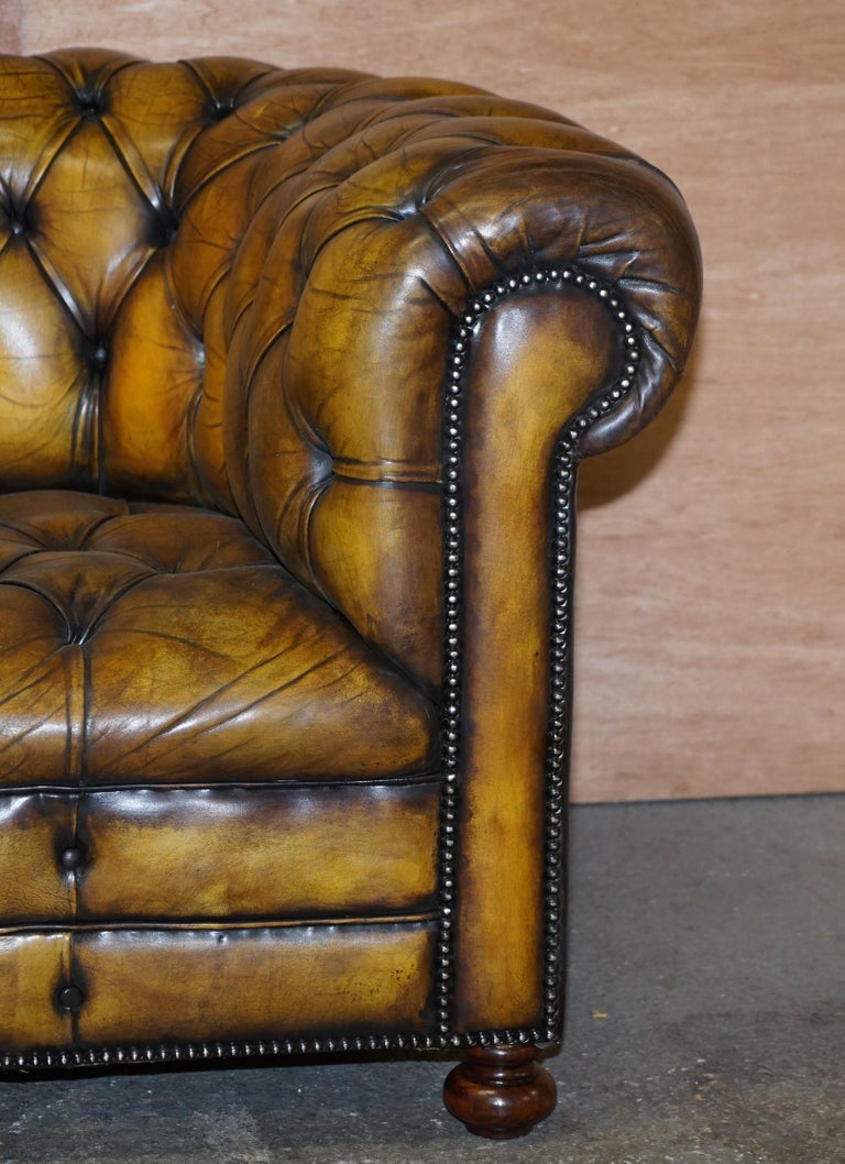 1920's Art Deco Hand Dyed Restored Whisky Brown Leather Chesterfield Tufted Sofa For Sale 2