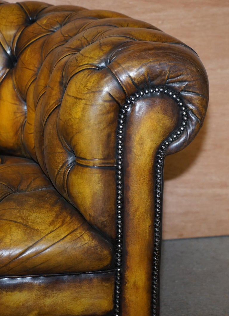 1920's Art Deco Hand Dyed Restored Whisky Brown Leather Chesterfield Tufted Sofa For Sale 3