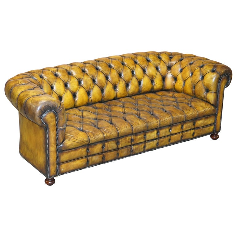 1920's Art Deco Hand Dyed Restored Whisky Brown Leather Chesterfield Tufted Sofa For Sale