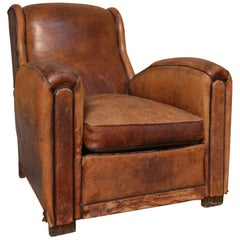 French 1920s Art Deco Brown Leather Armchair. Vintage European Club Chairs