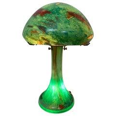 1920s Art Deco Murano Glass Domed Mushroom Green Fish Aquarium Table Lamp