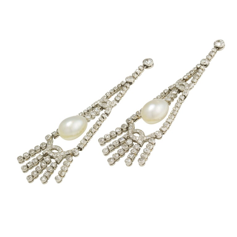 Brilliant Cut An Important Pair Of Art Deco Pearl And Diamond Earrings For Sale