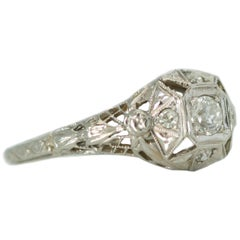 1920s Art Deco Old European Diamond and 18 Karat White Gold Engagement Ring