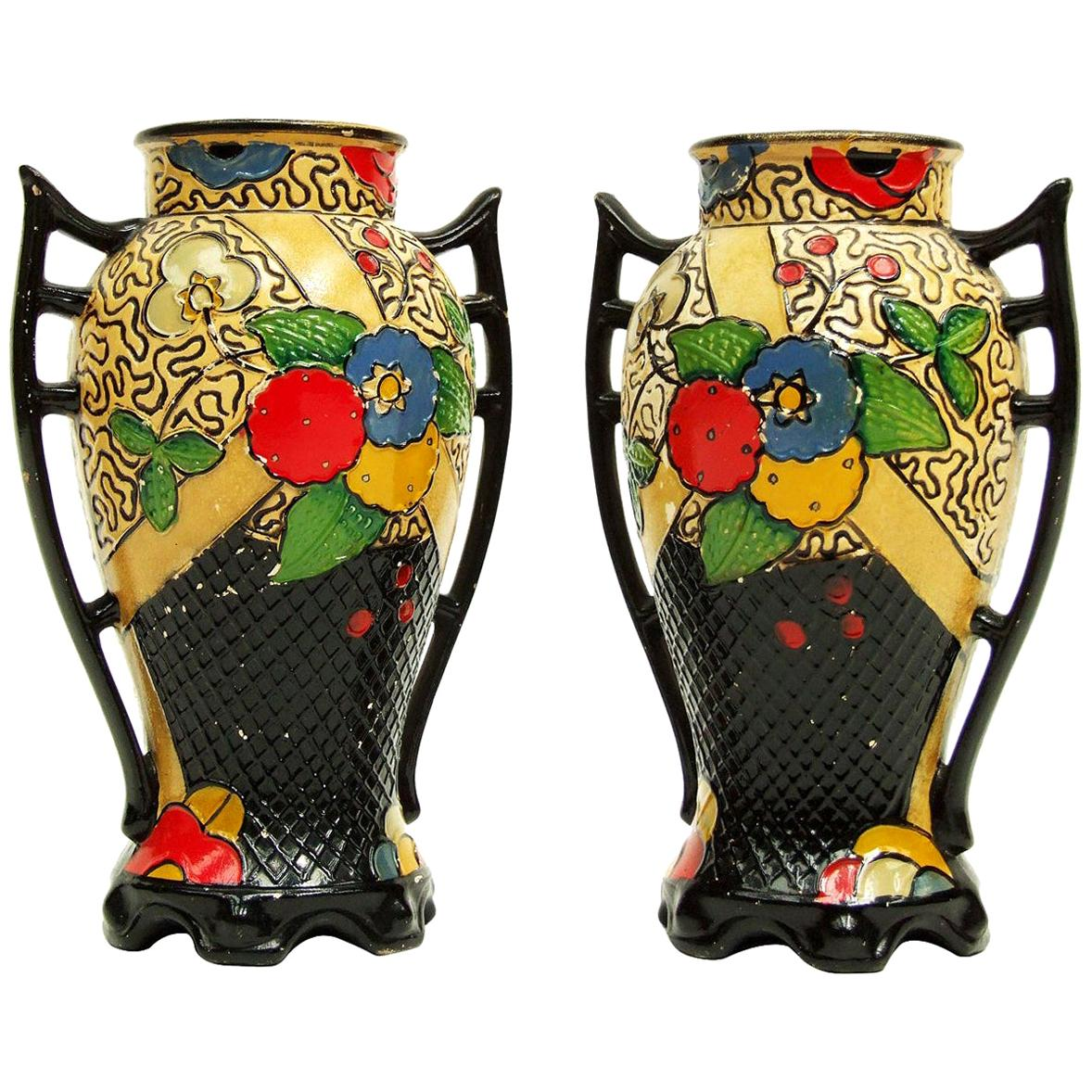 1920s Art Deco Oriental Hand Painted Ceramic Embosa Vases