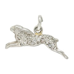 1920's Art Deco Pave Diamond Platinum Rabbit Charm