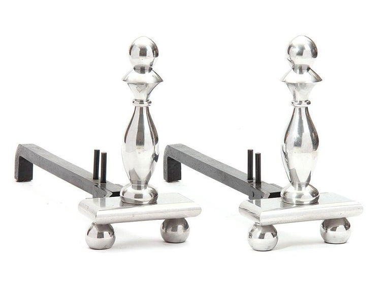 American 1920s Art Deco Pawn Andirons by A. Schultz For Sale