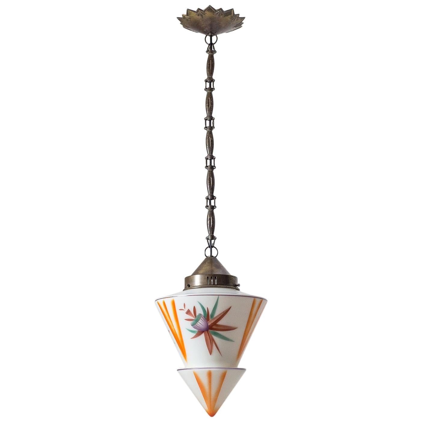 1920s Art Deco Pendant, Enameled Glass and Brass