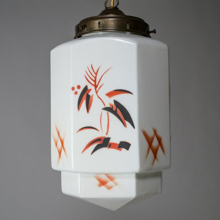 1920s Art Deco Pendant, Enameled Opaline Glass For Sale 4