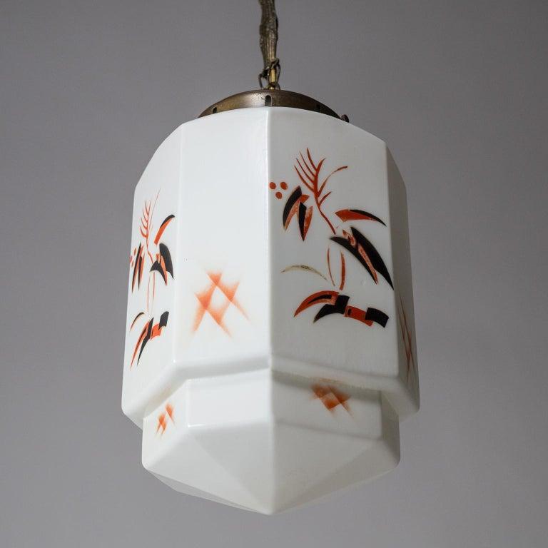 1920s Art Deco Pendant, Enameled Opaline Glass For Sale 5