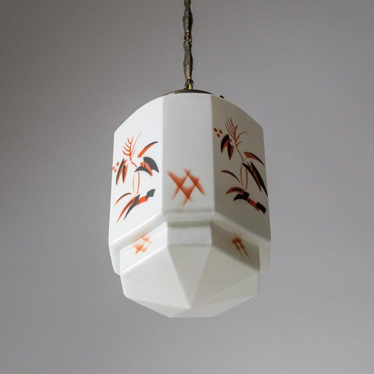 1920s Art Deco Pendant, Enameled Opaline Glass For Sale 6