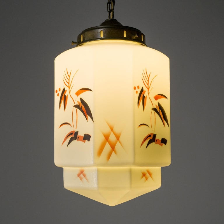 1920s Art Deco Pendant, Enameled Opaline Glass For Sale 7