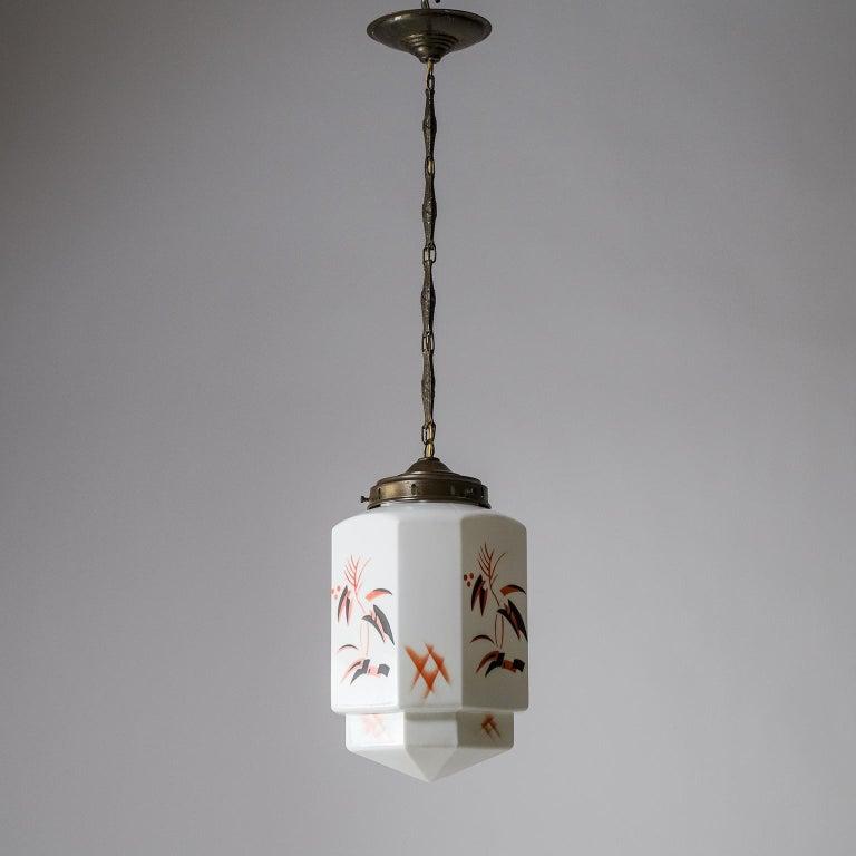 1920s Art Deco Pendant, Enameled Opaline Glass For Sale 8