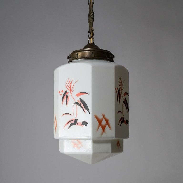 German 1920s Art Deco Pendant, Enameled Opaline Glass For Sale