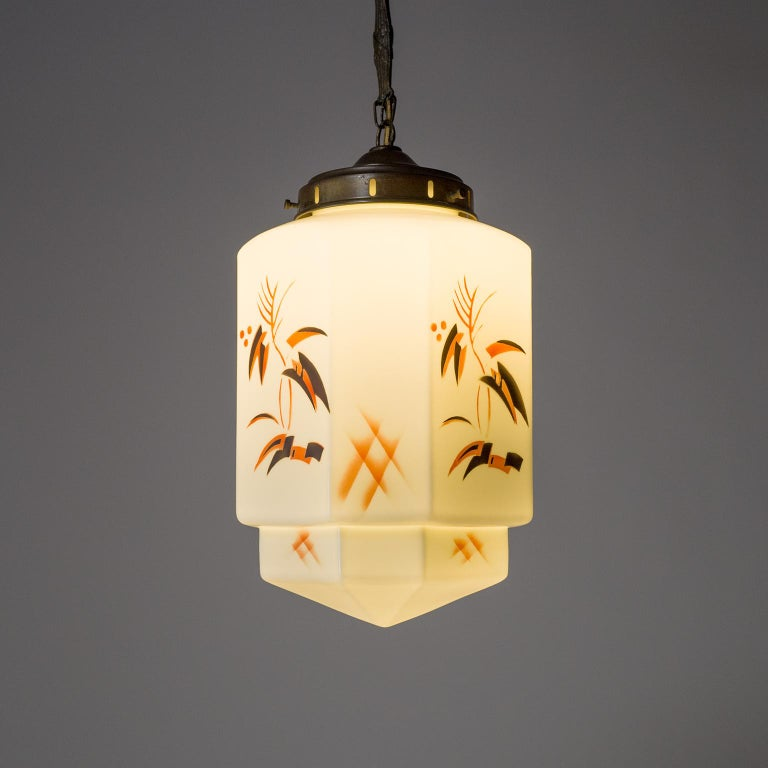 1920s Art Deco Pendant, Enameled Opaline Glass In Good Condition For Sale In Vienna, AT
