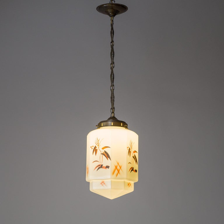 Early 20th Century 1920s Art Deco Pendant, Enameled Opaline Glass For Sale