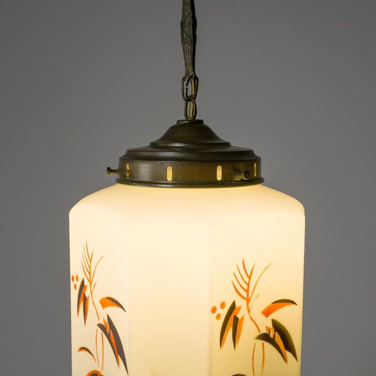 Milk Glass 1920s Art Deco Pendant, Enameled Opaline Glass For Sale