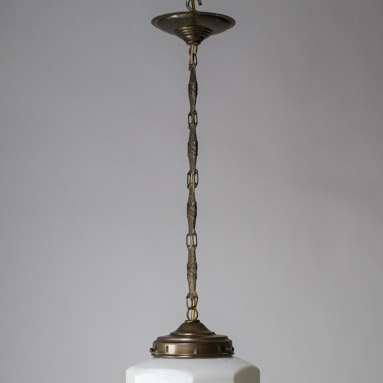1920s Art Deco Pendant, Enameled Opaline Glass For Sale 2