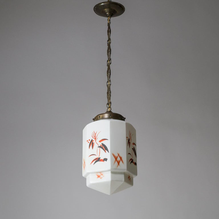 1920s Art Deco Pendant, Enameled Opaline Glass For Sale 3
