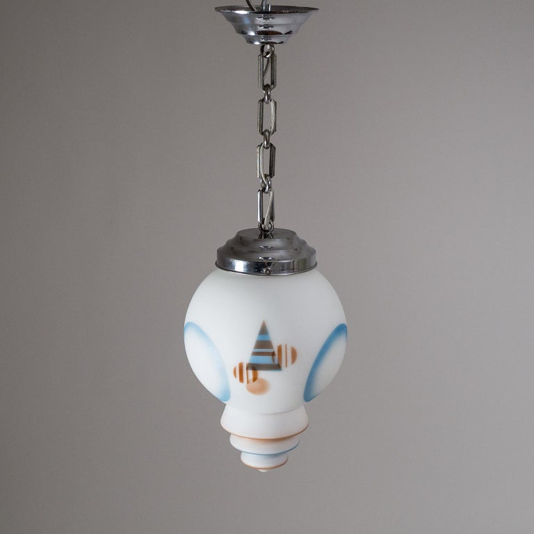 1920s Art Deco Pendant, Enameled Satin Glass and Chrome For Sale 5