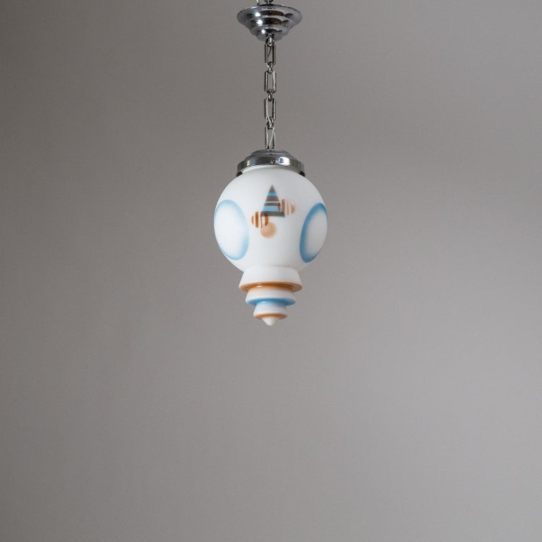 1920s Art Deco Pendant, Enameled Satin Glass and Chrome For Sale 15