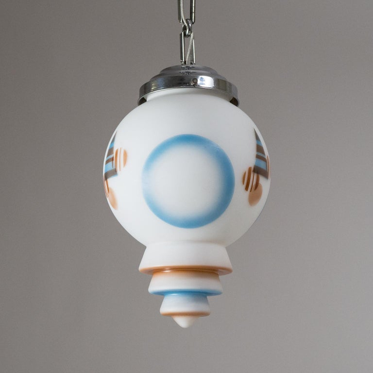 1920s Art Deco Pendant, Enameled Satin Glass and Chrome In Good Condition For Sale In Vienna, AT