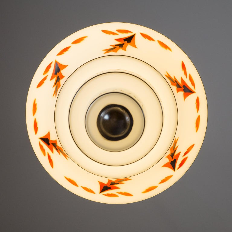 Early 20th Century 1920s Art Deco Pendants, Enameled Glass and Copper For Sale