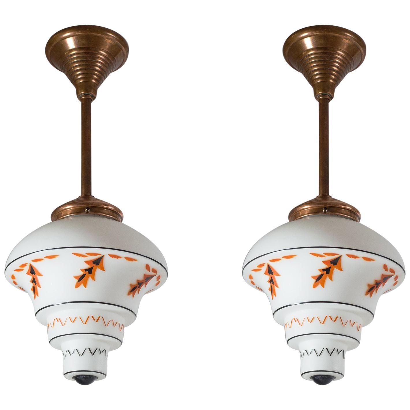 1920s Art Deco Pendants, Enameled Glass and Copper