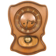 1920s Art Deco Pendulum Wall Clock in Lacquered Wood Case Mechanism Fex Zurich