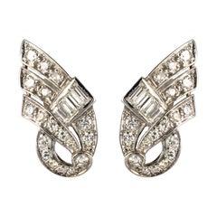 1920s Art Deco Platinum 18 Karat White Gold Diamond Earrings