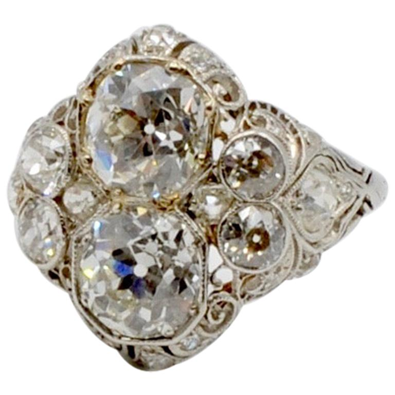 1920s Art Deco Platinum and Old Mine Cut 4.22 Carat Diamond Ring
