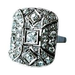 1920s Art Deco Platinum Diamond Antique Bridal Fashion Ring