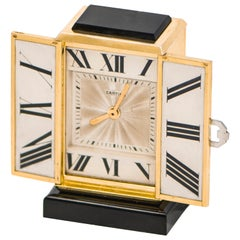 1920s Art Deco Platinum Diamond Enamel Gold Shutter Clock
