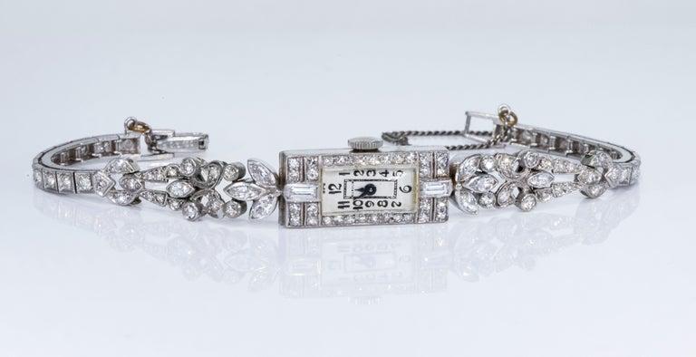 1920s Art Deco Platinum Diamond Set Gubelin Marquis Floral Motif Bracelet Watch 5