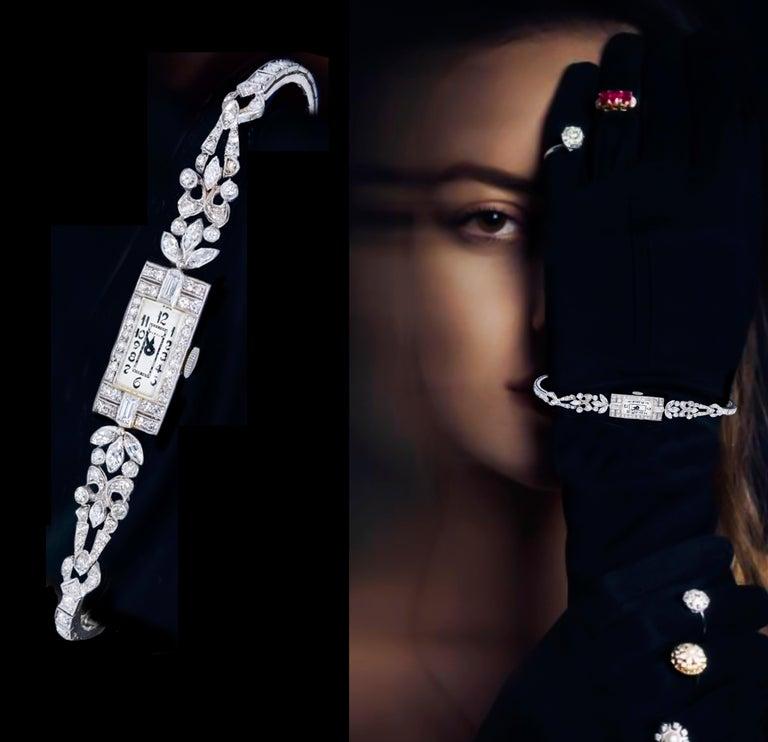 1920s Art Deco Platinum Diamond Set Gubelin Marquis Floral Motif Bracelet Watch 6