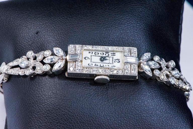 1920s Art Deco Platinum Diamond Set Gubelin Marquis Floral Motif Bracelet Watch 7