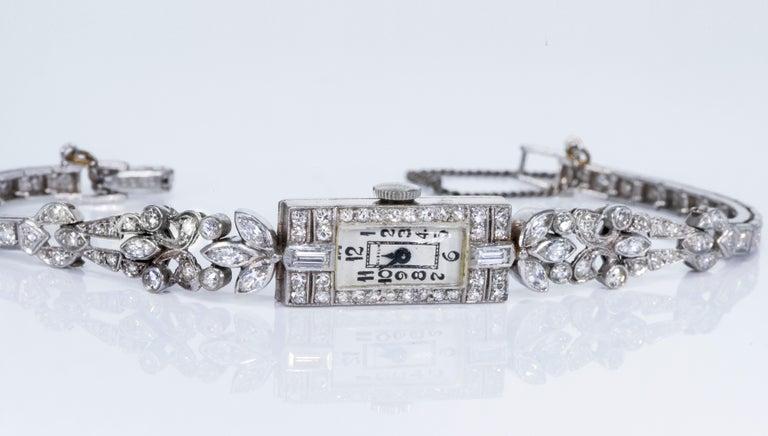 1920s Art Deco Platinum Diamond Set Gubelin Marquis Floral Motif Bracelet Watch 8