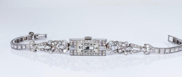 1920s Art Deco Platinum Diamond Set Gubelin Marquis Floral Motif Bracelet Watch 9
