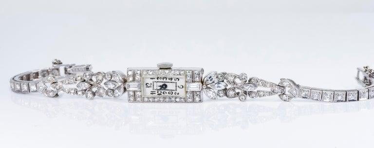 1920s Art Deco Platinum Diamond Set Gubelin Marquis Floral Motif Bracelet Watch 10