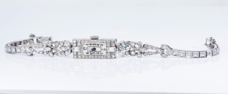 1920s Art Deco Platinum Diamond Set Gubelin Marquis Floral Motif Bracelet Watch 11